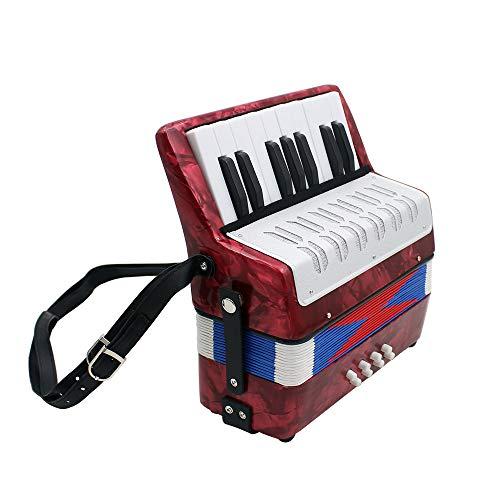 Adanse 17 Instrumento Musical Educativo Profesional de AcordeóN Profesional Clave para Ambos Ni?Os Adulto de Rojo