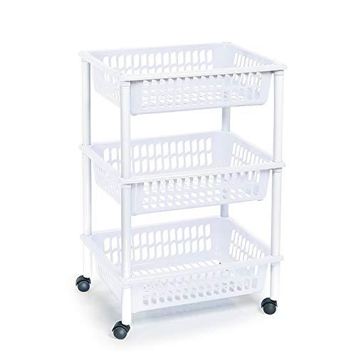 Carro verdulero con ruedas 3 cestas 40 x 30 x 61,5 cm ,Carrito portaobjetos estantes multiusos para organizar los espacios domésticos, ideal para baño, cocina, sala y garaje etc.. (Blanco-3 cestas)
