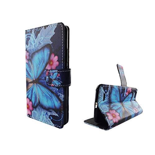 König Design Handyhülle Kompatibel mit ZTE Blade V6 Handytasche Schutzhülle Tasche Flip Hülle mit Kreditkartenfächern - Schmetterling Blau