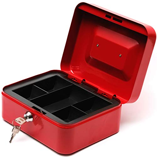 BAYA Lock Box for Cash Money and Coins with Key Lock - Medium | 7.9 x 6.3 x 3.5 Inches | Red | Secure Steel Lockbox for Safe Keeping | Small Petty Storage Case | Includes 2 Keys
