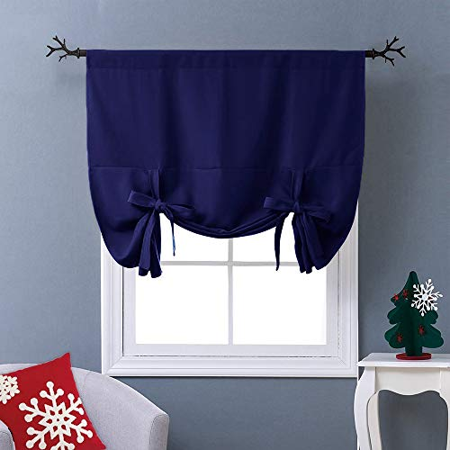 "NICETOWN Balloon Shades Blackout Curtain - Adjustable Thermal Insulated Tie Up Curtain Panel Valance (Royal Navy Blue, Rod Pocket Panel, 46"" W x 63"" L)"