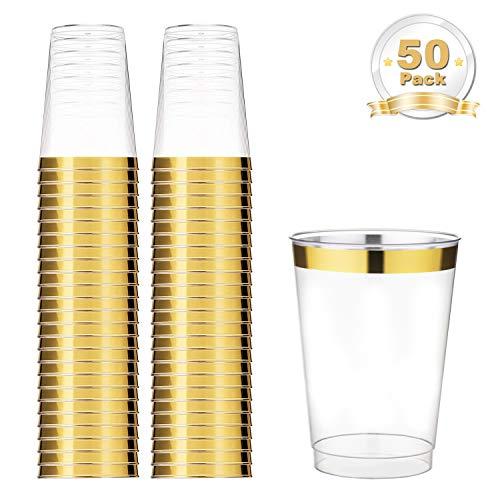 LOMOFI Kunststoff Klar Tassen, 350ml 50 Stück, Gold Gerahmt Kunststoff Tassen, Recycelbarbecher für Geburtstagsfeier/Hochzeit im Freien/Familienessen - Gold