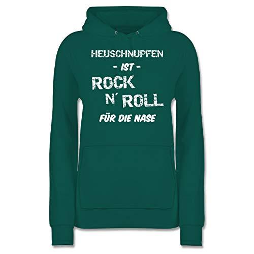 Sprüche - Heuschnupfen ist Rock n\' Roll für die Nase - L - Türkis - JH001F_Hoodie_Damen - JH001F - Damen Hoodie und Kapuzenpullover für Frauen