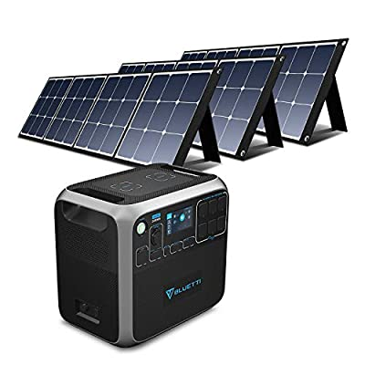 BLUETTI AC200P 2000Wh Portable Power Station with Solar Panel 3pcs 120W, Backup Lithium Battery with 6 2000W AC Outlets, Solar Generator for Home Outdoor Camping RV Emergency