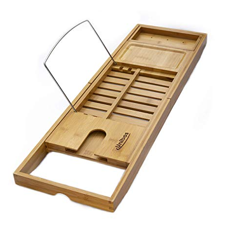 DIYUN Bamboo Bathtub Caddy Tray Extendable Spa Organizer with Folding Sides Natural Ecofriendly Bamboo Integrated Tablet Smartphone Wine Book Holders
