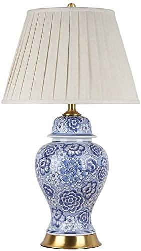 nakw88 Lámpara de Mesa de Porcelana Azul y Blanca, lámpara de Noche para Sala de Estar, decoración de Cobre Retro, Dormitorio 40x70cm Lámpara de Mesa