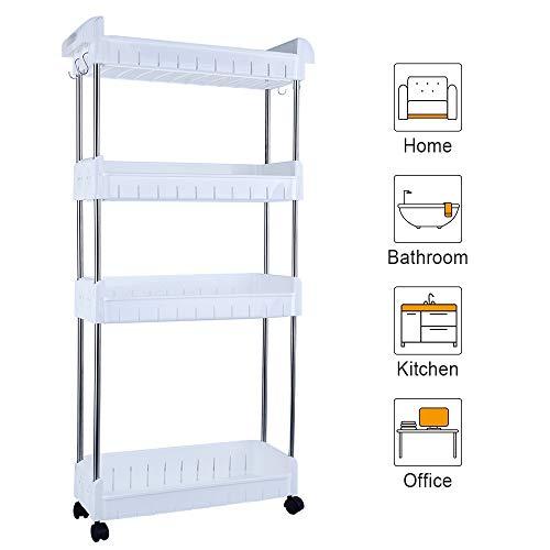 Aogist Mobiles Regal mit 4 Ebenen, schlankes Design, ausziehbar, für Küche, Badezimmer, Waschküche, schmale Stellen (weiß)