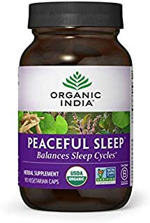 ORGANIC INDIA Peaceful Sleep Supplement, 90 Caps (Packaging May Vary)