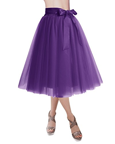 DRESSTELLS Knee Length Tulle Skirt Tutu Skirt Evening Party Gown Prom Formal Skirts Purple L-XL