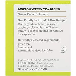 Bigelow Green Tea with Lemon Tea Bags 20-Count Box, (Pack of 6), Caffeinated 120 Tea Bags Total