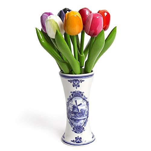 Hochwertiger Tulpenstrauß aus Holz in Einer Typisch Holländischen Vase, 9 Holztulpen handbemalt, 21 cm hoch incl. Vase, Blumenstrauss, Dekoration, Frauengeschenk, Made in Holland