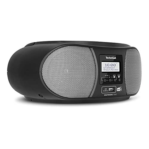 TechniSat DIGITRADIO 1990 - Stereo-Boombox mit DAB+/UKW-Radio und CD-Player (Bluetooth-Audiostreaming, Kopfhöreranschluss, USB, AUX in, Ladefunktion, Uhr, 2 x 1,5 Watt Ausgangsleistung) schwarz
