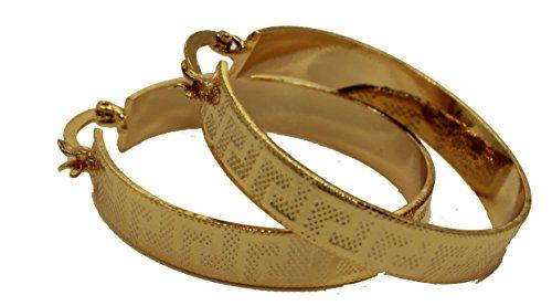 Aros de llave griega chapados en oro de 18 quilates, 35 mm x 6 mm