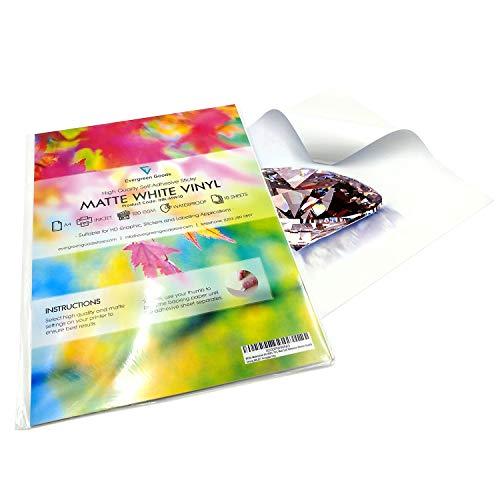 Vinilos adhesivos imprimibles en formato A4, resistentes al agua y adecuados para impresoras láser (20 láminas).