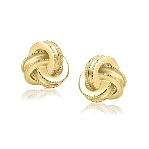 Gold Plated Sterling Silver Studs Love Knot Earrings For Women | Hypoallergenic & Nickle Free Jewelry for Sensitive Ears (8, yellow-gold-plated-silver)