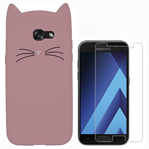Hcheg 3D Silicone Protective Case Cover for Samsung Galaxy a5 2017 Cover Cat Design Black/White Case Cover + 1X Screen Protector