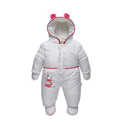DDZ Baby Down Jacket Jumpsuit Baby Toddler Winter Romper Hoodie Snowsuit with Gloves White, 66cm