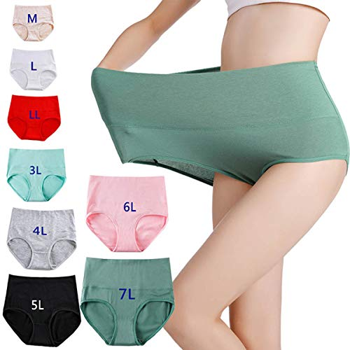 ERYG 8 st M-7XL damunderkläder, sömlösa hög midja bomull andas heltäckande täckbyxor, menstruationsperiod läckagesäker plusstorlek 7XL A