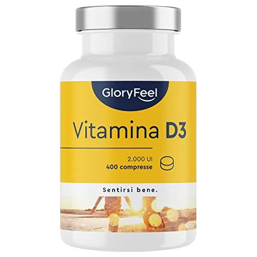 Vitamina D3 2000 UI per Compressa (50 mcg), 400 Compresse (Scorta 1+ Anno), Vit D ad Alto Dosaggio, Integratore Vitamin D3 Colecalciferolo, Supporta Ossa, Denti, Muscoli e Difese Immunitarie