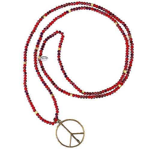 KANYEE Peace and Love Sign Collares Pendientes Cuentas Piedra Cristal Nacklace para Mujeres Hombres Unisex-Rojo