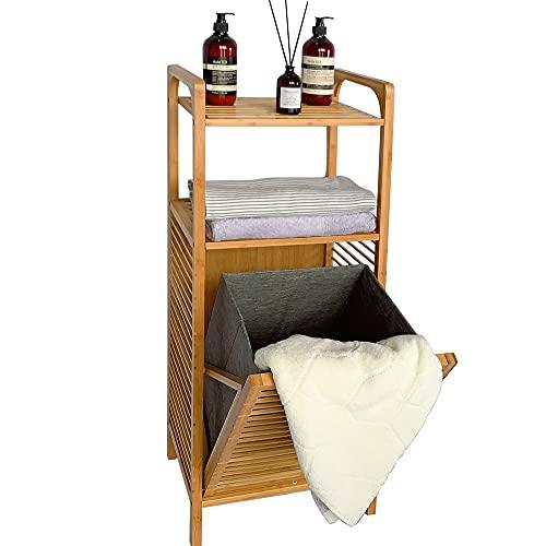 Estantería de baño con cesta para la colada extraíble, estantería de bambú para el baño, armario de baño con 2 estantes para accesorios de baño, con cesta plegable para la colada