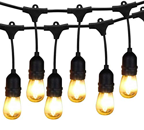 BRIMAX S14 Outdoor Patio String Lights with 16PCS E27 Edison LED Bulbs, 2700K Commercial Cafe Lights Hanging Garden Bistro for Christmas Decorative Gift,49FT