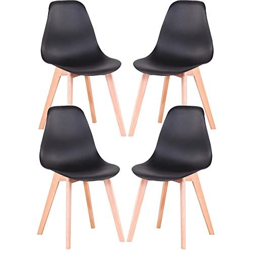 GrandCA HOME Nordica Silla de Comedor Pack 4 Sillas Comedor Madera Moderna para Oficina Cocina (Negro-4 sillas)