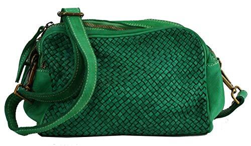 BZNA Bag Lucy Grün green Italy Designer Clutch Braided Ledertasche Umhängetasche Damen Handtasche Schultertasche Tasche Leder Shopper Neu
