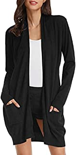 GRACE KARIN Essential Solid Open Front Long Knited Cardigan Sweater for Women (3XL,2 Pack-Black/Dark Grey)