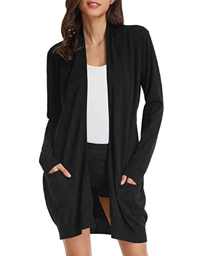 GRACE KARIN Open Front Long Sleeves Cardigan Sweater (L,Black)