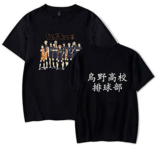 AMOMA Hombres Mujeres Ocio Anime Haikyuu Karasuno High School Camiseta Algodón Manga Corta Patchwork Tees(L,All-Black)