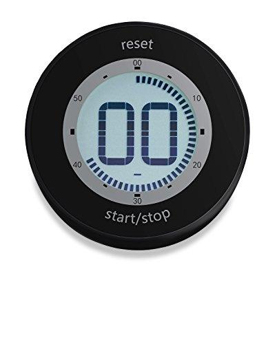 ADE TD1800-2 Digitaler Küchentimer (Kurzzeitmesser mit LCD-Display, Magnet und Drehmechanismus zum Aufziehen, Durchmesser 6, 7 cm) Schwarz