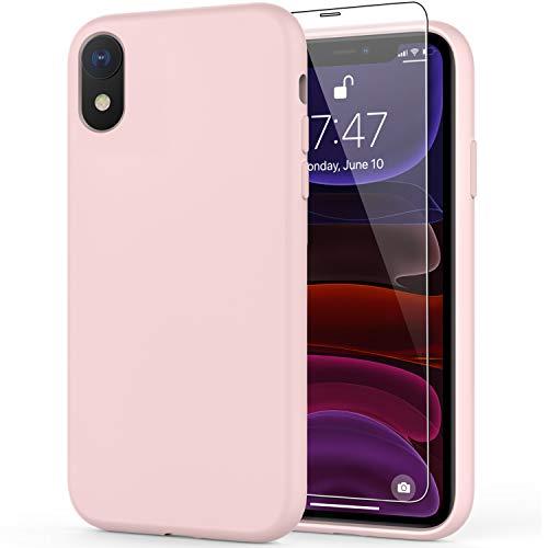 DEENAKIN - Funda para iPhone Xr con protector de pantalla, silicona líquida suave, carcasa de goma de goma, ajuste delgado, a prueba...