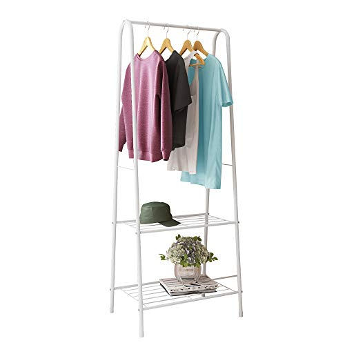 HOME BI Metal Garment Rack,Clothing Rack with Shelves,Laundry Shelf,Closet Storage Orgarnizer,Entryway Shelving Unit with 2-Tier Metal Shelf and Hanging Rod,24' W x13.2 D x63 H (White)