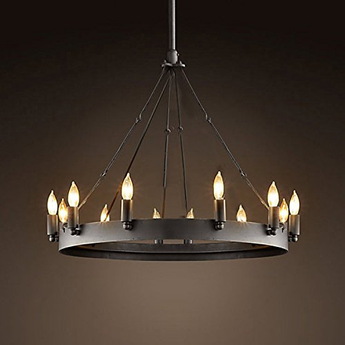 Ladiqi Wrought Iron Chandelier Ceiling Light Industrial Vintage Chandelier Lighting Rustic Lighting