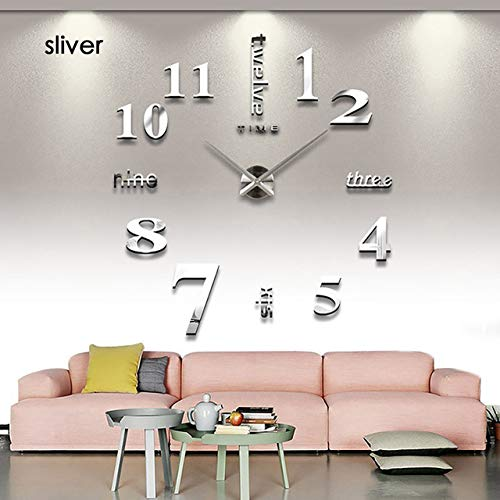 HXLES 3D Luminous Real Big Wall Clock Rushed Mirror Sticker DIY Wohnzimmer Home Decor Fashion Watches Quartz Large