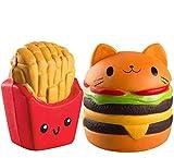 ZhengYue 2PCS Squishy Toys - Jumbo Squishies Profumato a Crescita Lenta Squeeze Antistress Peluche Miglior Regalo Per Ragazze Ragazzi (patatine fritte + hamburger)