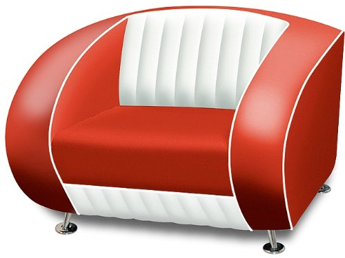 Bel Air Amerikanischer Sessel Retro Style Möbel usa 50er Sofa Designer Sessel Gastronomie Möbel (Red/White)