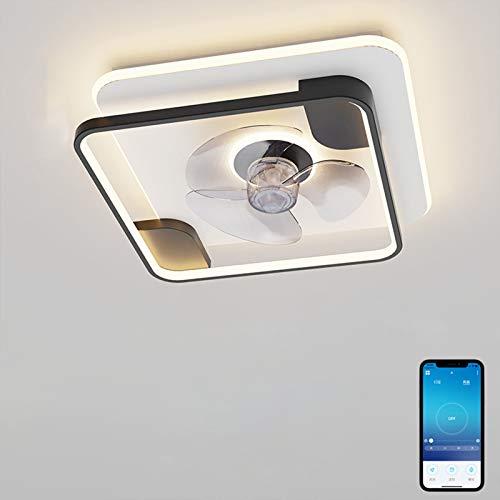 VOMI Ventilador de Techo con Luz APP Control Lámpara de Techo Función de Cronometraje LED Ventilador Invisible Plafon Luces Velocidad del Viento Ajustable para Dormitorios Habitaciones de Niños Negro