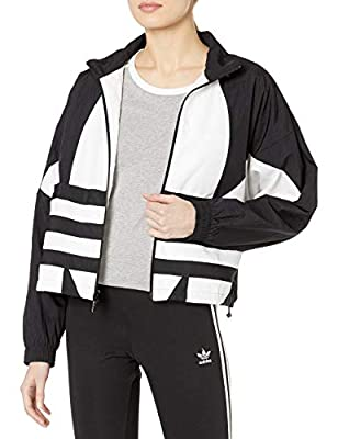 adidas Originals Women's Large Logo Track Top, Black/White, S