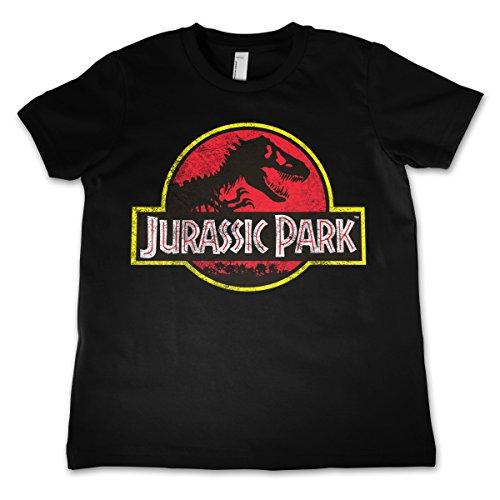 Jurassic Park Licenza Ufficiale Distressed Logo Unisex Bambino- Nera 9/10 Anni