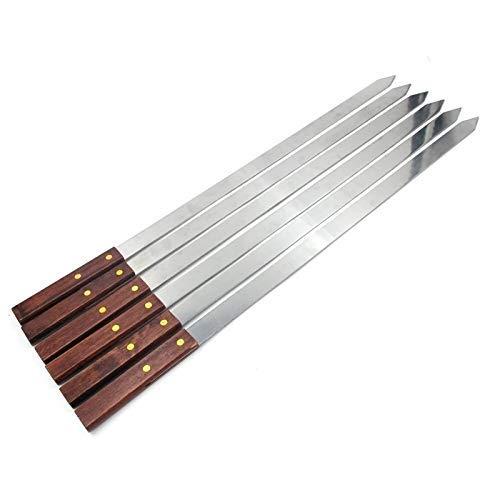 aipipl Home Edelstahlspieße zum Grillen, Kabob-Spieße mit langem Holzgriff zum Grillen für EIN türkisches Grillpicknick (Farbe: 10 Stück)