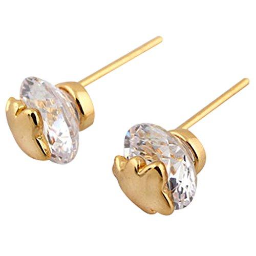 YAZILIND 18 k chapado en oro aretes cúbicos Zirconia blanco pequeño oso pendiente mujeres cumpleaños de las niñas joyas regalo