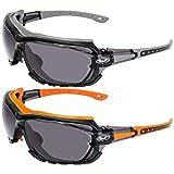 2 Pairs of Global Vision Octane Padded Safety Glasses Grey + Orange Gaskets Smoke Lenses