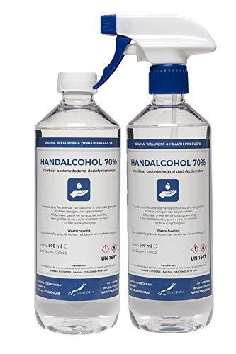 Hand Alcohol Desinfectie Spray 70% Gedenatureerd met IPA, MEK en Bitrex – 500 ml met spraykop + 500 ml met dop