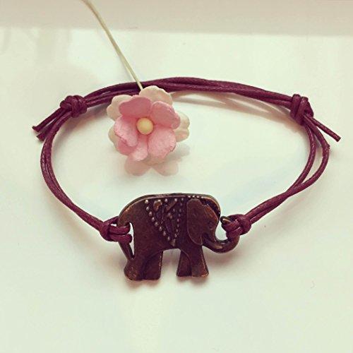 Elefant Armband in Bordeaux-Rot Bronze Größenverstellbar, elephant/vintage/ethno/hippie/must have/statement/florabella schmuck/afrika/tier/natur/indien/gewachste Baumwolle
