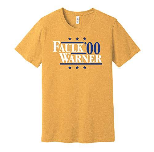Faulk & Warner '00 - Camicia Parodia Campagna Politica - Versione Blu e Oro - Stampa Death Ray Oro XXL