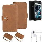 K-S-Trade® Handy-Schutz-Hülle Für -Archos 55 Graphite- + Kopfhörer Portemonnee Tasche Wallet-Case Bookstyle-Etui Braun (1x)
