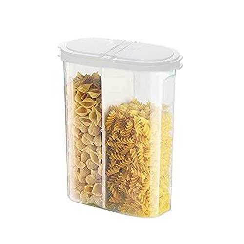 Plastica Contenitore per Alimenti, Scatole da Cucina con Coperchio con Etichetta, Contenitori per Cereali per Alimenti Secchi, Cereali e Farina,Bianca