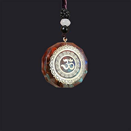 XSDCLOWN Orgonita Colgante Sri Yantra Collar GeometríA Sagrada Chakra EnergíA Collar, Cristal SintéTico de Piedra Natural, Piedra de Alta Frecuencia Colgante de Piedra Collar MeditacióN Joyerí